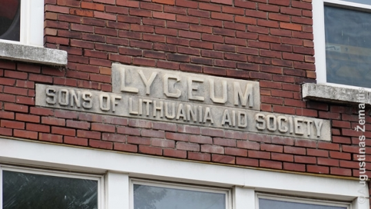 """Lithuanian Sons"" inscription on the club"