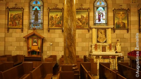 The Lithuanian altars of Jurgis Matulaitis (left) and Our Lady of Vilnius (right) at the Annunciation Lithuanian church in Williamsburg, New York