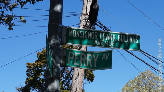 Monsignor Frank Bulovas Avenue sign