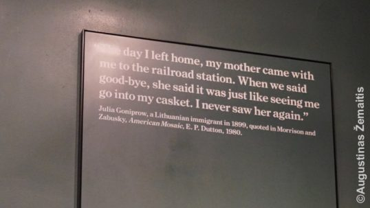 A quote of a (most likely) Jewess from Lithuania at the Ellis Island museum