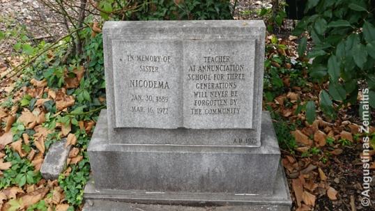 Nedidelis paminklas seserei Nikodemai Nikodemos aikštėje