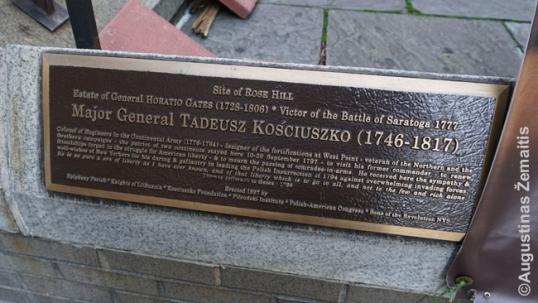 Atminimo lenta Kosciuškai Niujorke