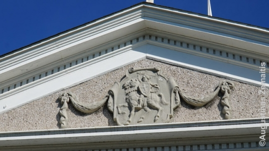 Pediment with Lithuanian coat of arms at the Niagara Falls Lithuanian church