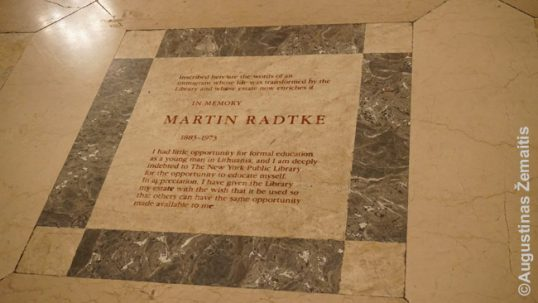 Martin Radtke memorial plaque in the New York library