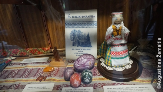 One of the Lithuanian memorabilia shelves at the Our Lady of Lourdes parish