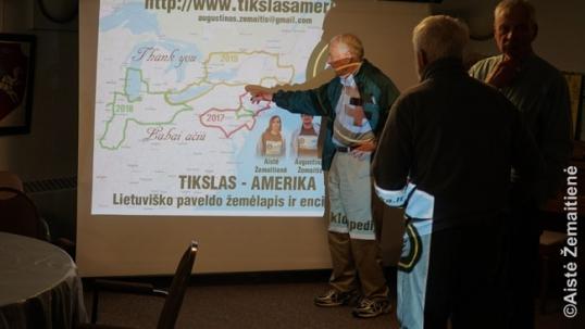 Pristatymo Ročesteryje klausytojai teiraujasi apie 'Tikslas - Amerika' maršrutą