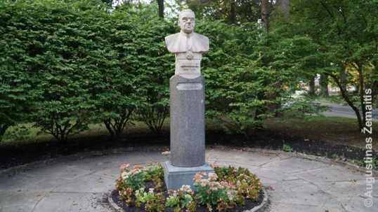 Maironis statue in Cleveland Lithuanian garden