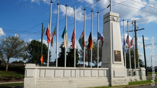 Memorial with the flags in Old North Dayton