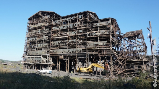 Coal breaker under demolition near Shenandoah