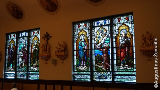 A stained-glass window at the Girardville Lithuanian church