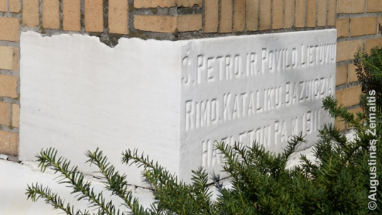 Cornerstone of the Hazleton Lithuanian church