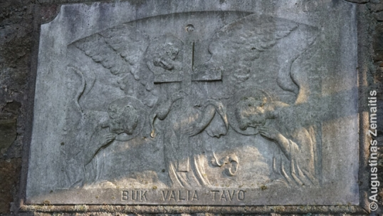 Lithuanian bas-relief in the Shenandoah Our Lady of Dawn cemetery