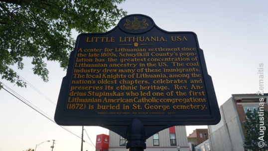 Memorial plaque for Little Lithuania in Shenandoah