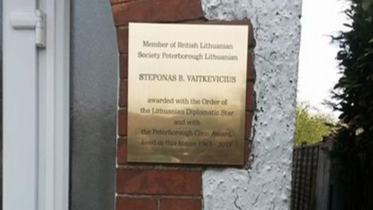 Vaitkevičius commemorative plaque in Peterborough