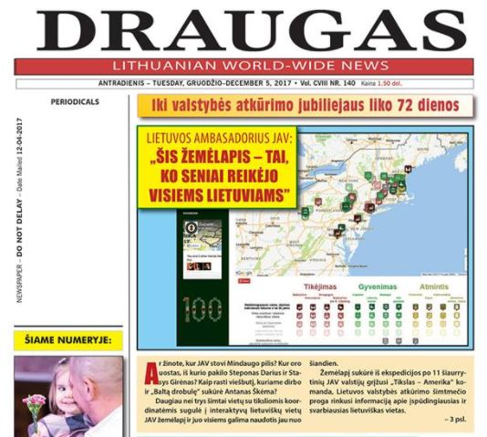 One of many articles on the DESTINATION LITHUANIAN AMERICA project in Draugas newspaper