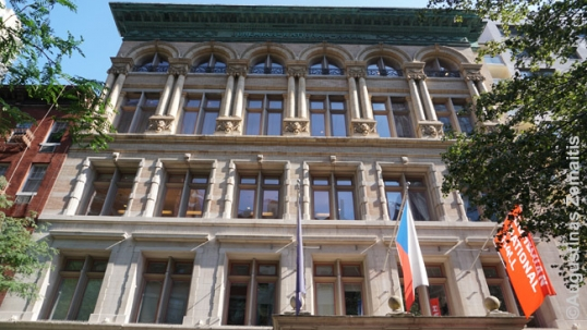 Bohemian National Hall in New York, a positive example where Czech stakeholders, including the Czech Republic itself, teamed up in order to turn the building into a center for Czech culture in New York. The building has been bought out by the Czech Republic in 2001 and now serves as a Czech cultural center, uniting the Czechs of New York, the Czech Republic government (which operates a consulate there), helping to promote the Czech culture and Czech history in America, which is the goal that unites Czech-Americans, the Czech Republic and is useful to Americans as a whole
