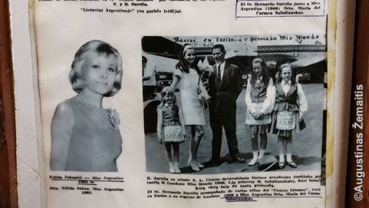 Interesting details about the Lithuanian participation in Argentine life. Newspaper clippings about a Lithuanian girl who represented Argentina in Miss World in 1965