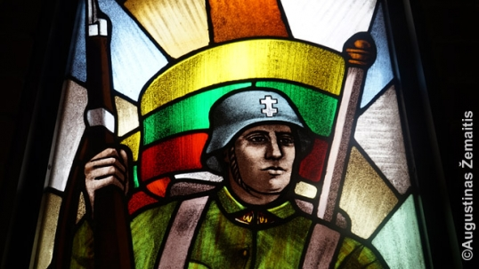 A fragment of the Lithuanian soldier stained-glass window in Hamilton Lithuanian chruch extension