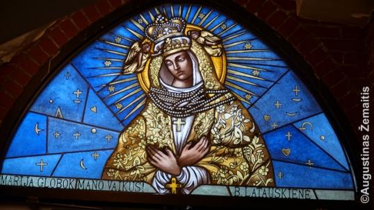 Hamiltono lietuvių bažnyčios vitražas, kuriame pavaizduota Švč. Mergelė Marija