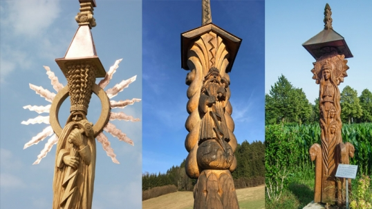 Lithuanian monuments in Austria by Algimantas Sakalauskas. Left to right: two Perkūnas monuments and the Eglė monument.