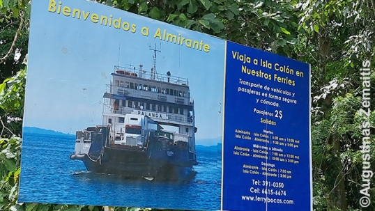 Advertisement for Palanga ferry at the entrance of Almirante town