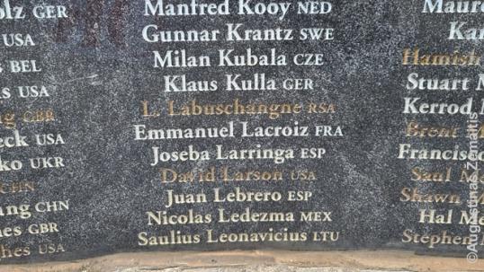 A part of the memorial that includes Saulius Leonavičius surname